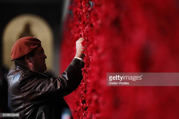 A member of the public places a poppy on the Roll of Honour in the Australian War Memorial after the Anzac Day dawn service on April 25 2016 in...