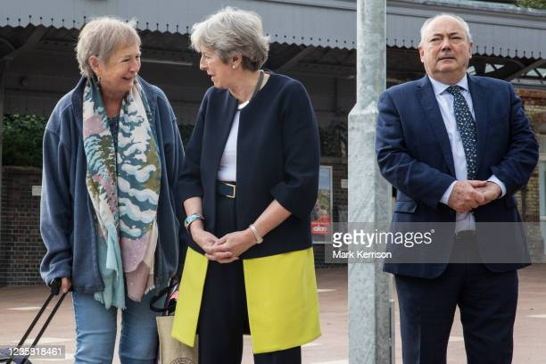Member of the public speaks to Theresa May, Conservative MP for Maidenhead, on the occasion of the official opening of a new station forecourt on...