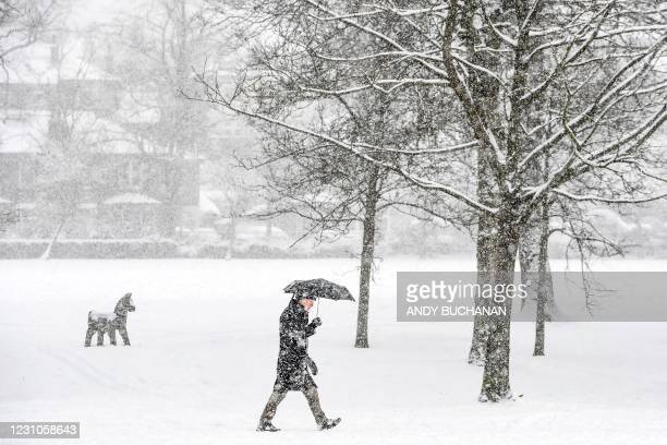 Member of the public walks through the snow in Victoria Park in Glasgow on February 9, 2021. - Cold weather swept across northern Europe bring snow...