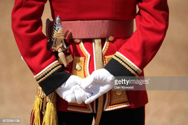 A member of the queen's personal troops the Household Division at The Royal Horseguards during Trooping The Colour ceremony on June 9 2018 in London...