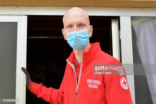A member of the Red Cross at work during the nationwide lockdown on April 18 2020 in Turin Italy The Italian government continues to enforce lockdown...