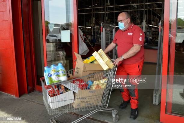 Member of the Red Cross delivers food to people who have suffered financial difficulties during the nationwide lockdown caused by the coronavirus...