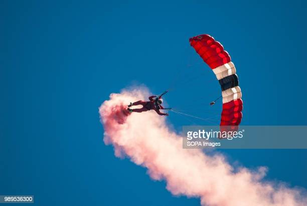 A member of the Red Devils display team during a skydive into the event Stirling shows its support of the UK Armed Forces as part of the UK Armed...