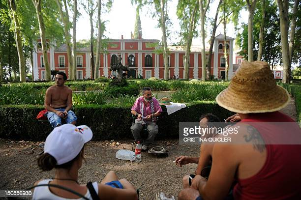 Member of the regional parliament for the United Left party in Andalucia Juan Manuel Sanchez Gordillo poses during a sitin designed to draw attention...