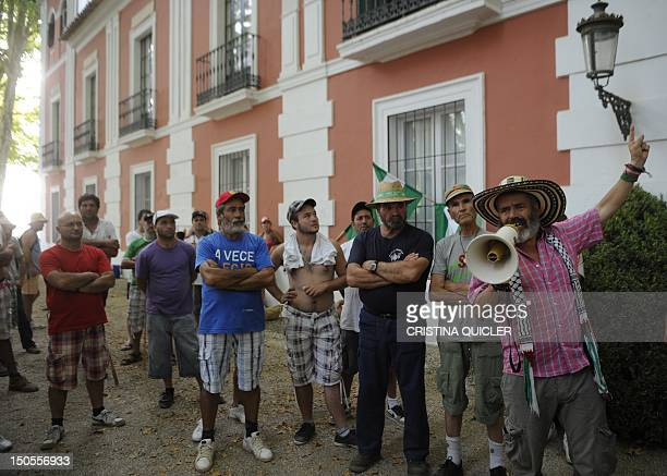 Member of the regional parliament for the United Left party in Andalucia Juan Manuel Sanchez Gordillo speaks during a sitin designed to draw...