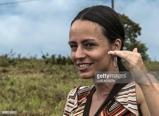 Member of the Revolutionary Armed Forces of Colombia Tanja Nijmeijer from Holland speaks during an interview whit AFP at Llanos del Yari in Caqueta...