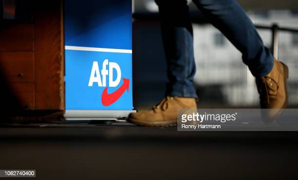 A member of the rightwing Alternative for Germany political party arrives for the AfD congress ahead of elections to the European Parliament next...