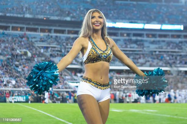 Member of The Roar, the Jacksonville Jaguars cheerleading squad, during the game between the Indianapolis Colts and the Jacksonville Jaguars on...