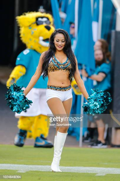 A member of The Roar the Jacksonville Jaguars cheerleading team during the game between the Atlanta Falcons and the Jacksonville Jaguars on August 25...