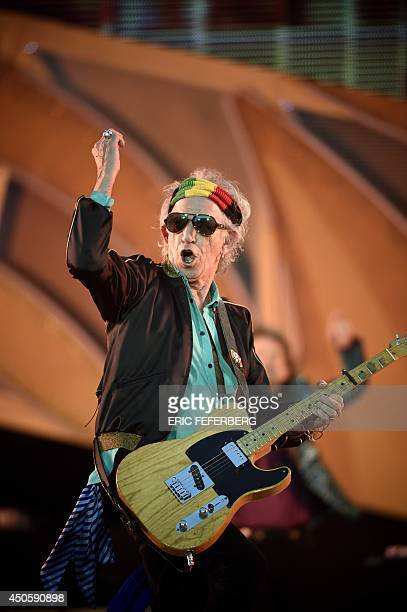 Member of the Rolling Stones British rock band guitarist Keith Richards performs during a concert of the band at the Stade de France in SaintDenis...