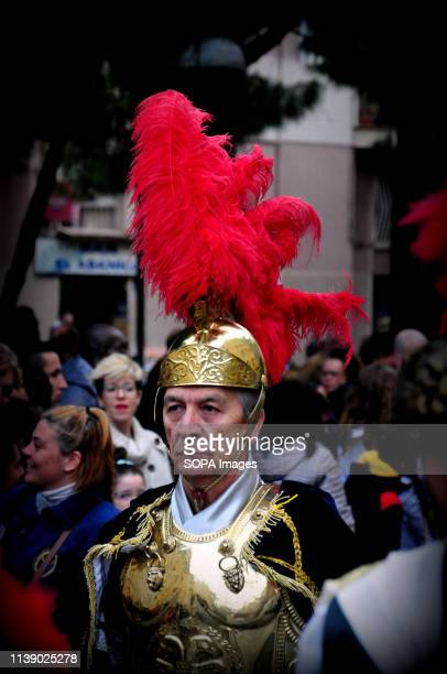 L´HOSPITALET CATALONIA SPAIN A member of the Roman Soldiers seen during the parade Easter Parade 2019 Hospitalet A parade typical of Spain where...