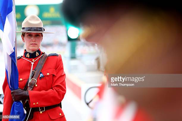 A member of the Royal Canadian Mounted Police is seen prior to the Canadian Formula One Grand Prix at Circuit Gilles Villeneuve on June 8 2014 in...