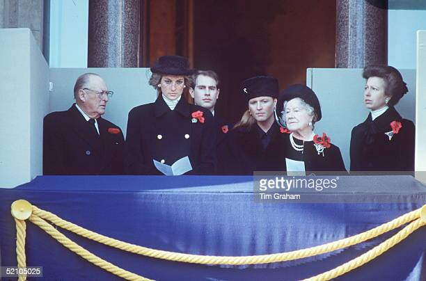 Member Of The Royal Family Attending The Cenotaph Remembrance Ceremony In Whitehall King Olaf Of Norway Princess Diana Prince Edward Duchess Of York...
