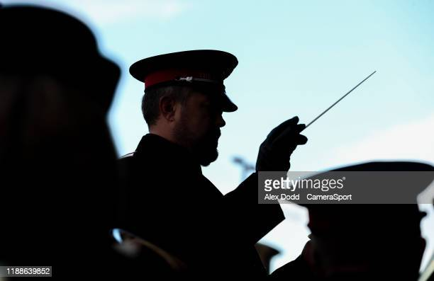 A member of the Salvation Army conducts a brass band outside The Stadium Of Light during the Sky Bet League One match between Sunderland and...