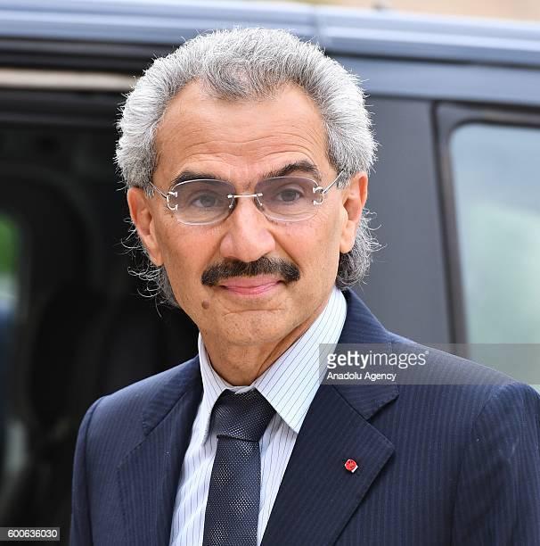 Member of the Saudi royal family AlWaleed Bin Talal bin Abdulaziz al Saud meets French President Francois Hollande at Elysee Palace in Paris France...