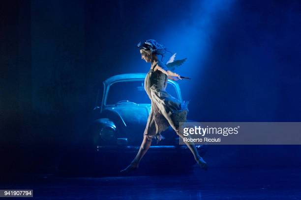 Member of the Scottish Ballet performs on stage during 'Matthew Bourne's Highland Fling Tour' photocall at Theatre Royal Glasgow on April 4, 2018 in...