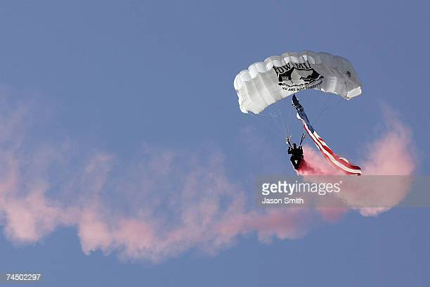 A member of the Screaming Eagles performs during prerace for the NASCAR Busch Series Federated Auto Parts 300 at the Nashville Superspeedway on June...