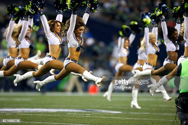 Member of the Sea Gals perform before a game between the Seattle Seahawks and the Buffalo Bills at CenturyLink Field on November 7 2016 in Seattle...