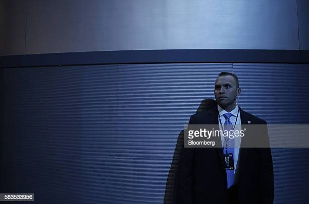A member of the Secret Service stands before the start of the Democratic National Convention in Philadelphia Pennsylvania US on Tuesday July 26 2016...