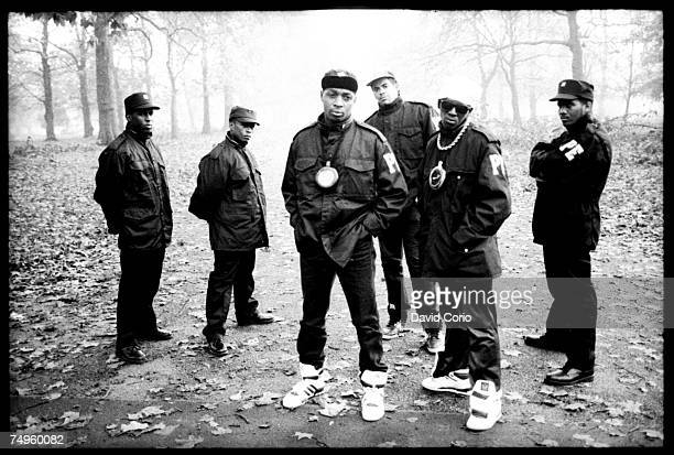 Member of the security organization S1W or 'Security Of The First World', S1W, Professor Griff, Chuck D, Terminator X, Flavor Flav, and another...