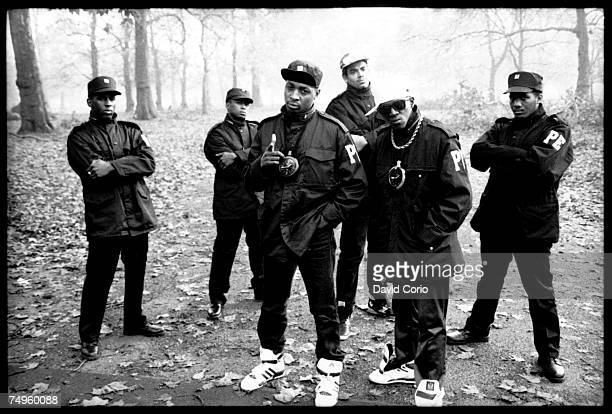 A member of the security organization S1W or 'Security Of The First World' S1W Professor Griff Chuck D Terminator X Flavor Flav and another member of...