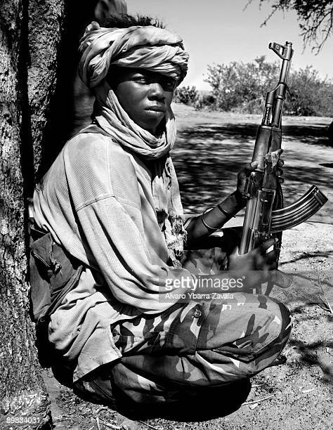 A member of the SLA guerrillas one of the rebel groups fighting against the Sudanese goverment in Khartoum