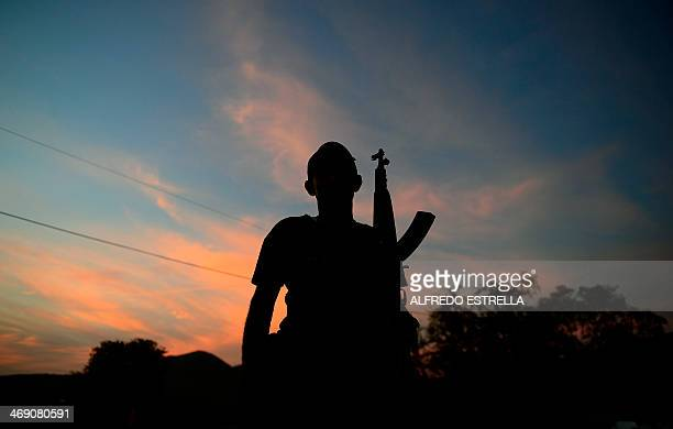A member of the socalled selfdefense groups patrols the road between Tepalcatepec and Apatzingan state of Michoacan Mexico on February 12 2014...