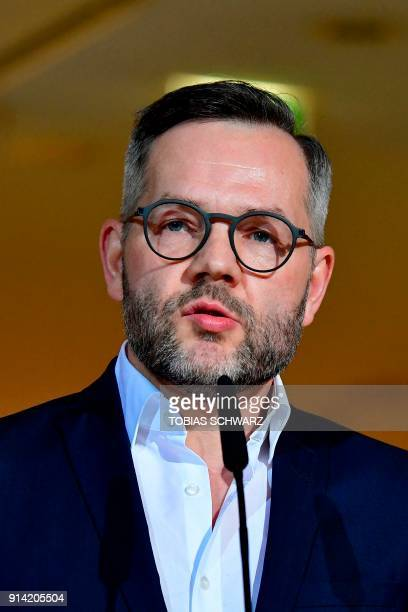 Member of the Social Democratic Party of Germany Michael Roth gives a statement at the SPD headquarters on February 4 2018 in Berlin as German...