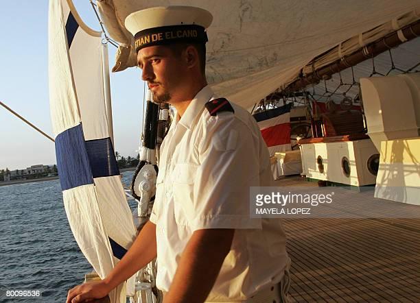 A member of the Spanish school boat Juan Sebastian de Elcano stands on deck March 3 2008 at Puntarenas port on the Pacific coast 110 kilometer west...