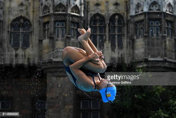 A member of the Spanish Womens Synchronised Swimming team practices on day two of the Budapest 2017 FINA World Championships on July 15 2017 in...