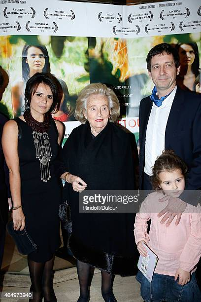 Member of the sponsorship committee of Missing Children Europe Bernadette Chirac standing between Actress and Director of the movie Ilaria Borrelli...