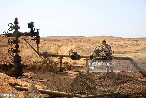 A member of the Syrian government forces stands next to a well at Jazel oil field near the ancient city of Palmyra in the east of Homs province after...