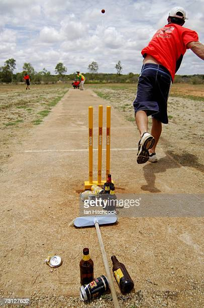 A member of the team 'Dilligaf' sends down a delivery during the Goldfield Ashes January 26 2007 in Charters Towers Australia Every Australia Day...