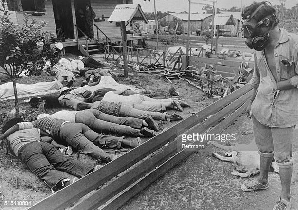 A member of the team sent to Jonestown by the Guyana Government surveys some of the hundreds of bodies of People's Temple followers who died...