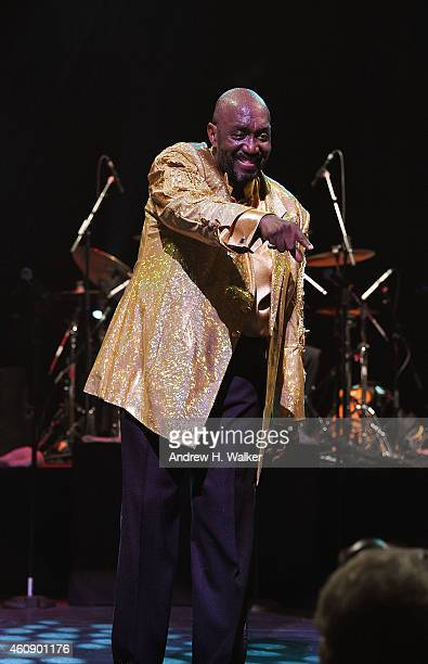 Member of The Temptations Otis Williams takes his curtain call bow at The Temptations and The Four Tops on Broadway at Palace Theatre on December 29...