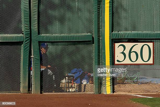 A member of the Texas Rangers pitching staff sits in the bullpen during the game with the San Francisco Giants on March 3 2008 at Scottsdale Stadium...