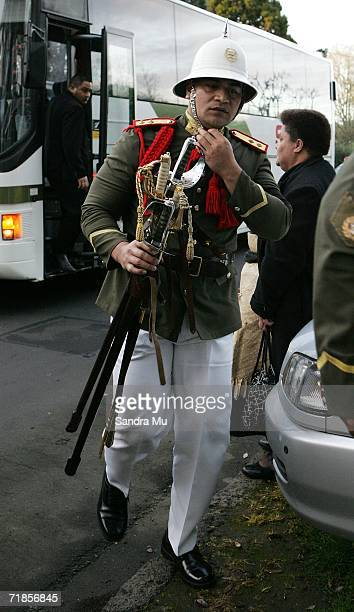 Member of the Tongan Army arrives at the Royal residence with the body of the Late King of Tonga, Taufa'ahau Tupou IV in Epson, September 12, 2006 in...
