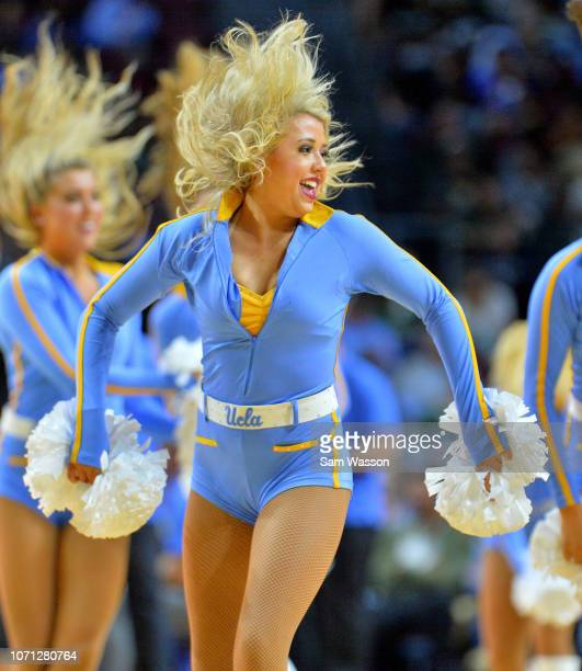 A member of the UCLA Bruins dance team performs during the team's game against the Michigan State Spartans during the 2018 Continental Tire Las Vegas...