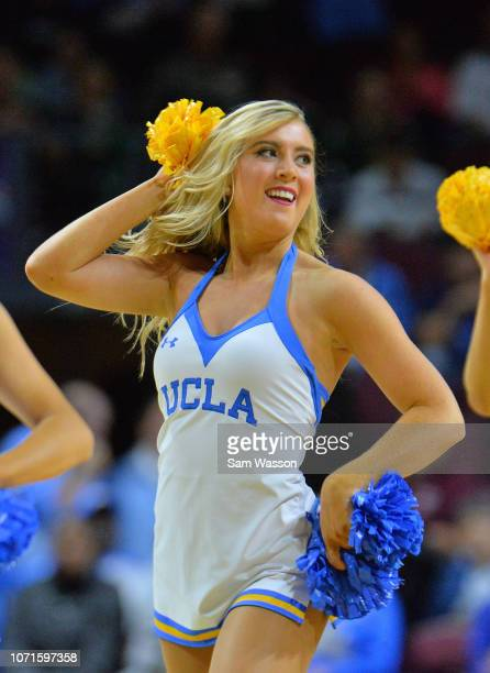 A member of the UCLA Bruins dance team performs during the team's game against the North Carolina Tar Heels during the 2018 Continental Tire Las...