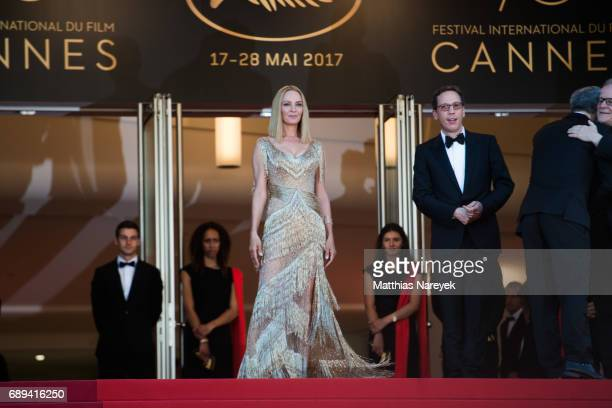 Member of the Un Certain Regard jury Reda Kateb and President of the Un Certain Regard jury Uma Thurman attend the Closing Ceremony of the 70th...