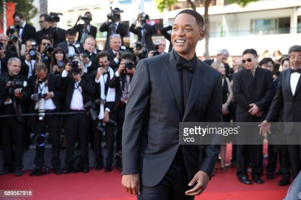 Member of the Un Certain Regard jury Will Smith poses on red carpet of the Closing Ceremony during the 70th annual Cannes Film Festival at Palais des...