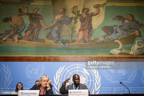 UK member of the UN Commission of Inquiry on Burundi Francoise Hampson and Senegalese chairman Doudou Diene give a press conference to present a...