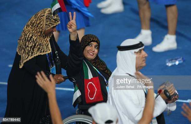 Member of the United Arab Emirates team enters the stadium during the Beijing Paralympic Games 2008 Opening Ceremony at the National Stadium,...