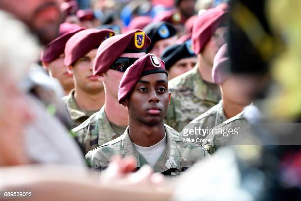A member of the United States Military is seen during prerace for the Monster Energy NASCAR Cup Series CocaCola 600 at Charlotte Motor Speedway on...