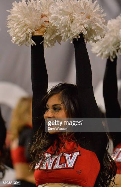 A member of the UNLV Rebels dance team performs during the team's game against the Hawaii Warriors at Sam Boyd Stadium on November 4 2017 in Las...