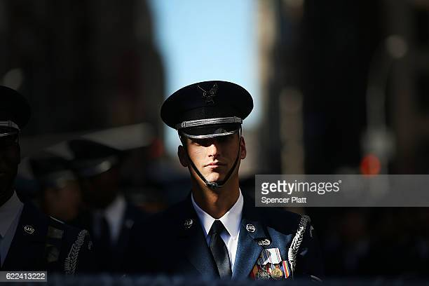 A member of the US Air Force marches in the nation's largest Veterans Day Parade in New York City on November 11 2016 in New York City Known as...