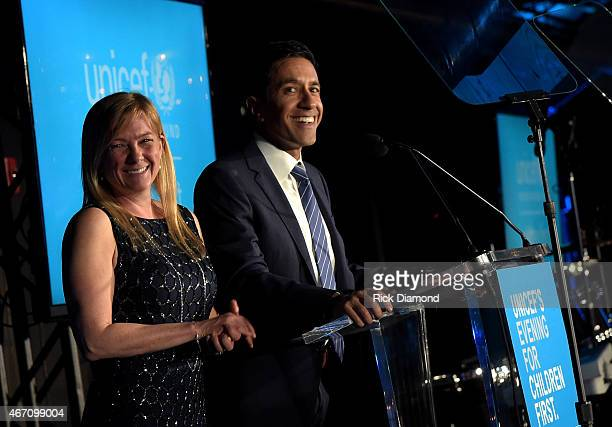 Member of the US Fund for UNICEF Southeast Regional Board Rebecca Gupta and CNN Chief Medical Correspondent Dr Sanjay Gupta accept the 2015 Global...