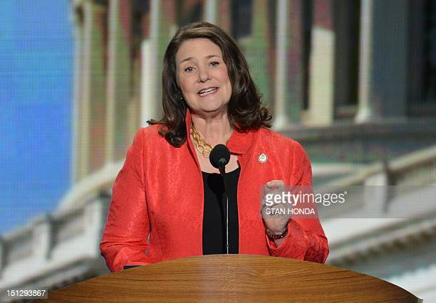 Member of the US House of Representatives Colorado Diana DeGette speaks to the audience at the Time Warner Cable Arena in Charlotte North Carolina on...