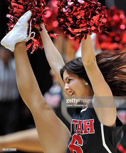 A member of the Utah Utes cheer team performs during a game against the Arizona State Sun Devils at the Jon M Huntsman Center on February 26 2015 in...