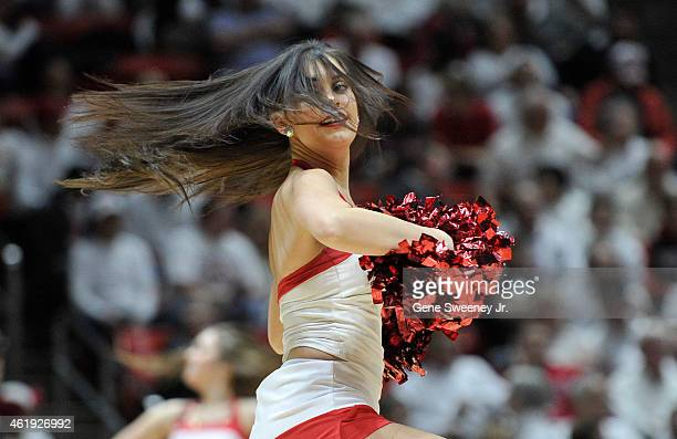 A member of the Utah Utes Spirit Team performs during their game against the Washington State Cougars at the Jon M Huntsman Center on January 21 2015...